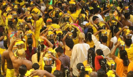 Hindu pilgrims celebrating Thaipusam inside the Batu Caves