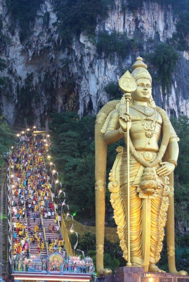 The Batu Caves during the Thaipusam festival